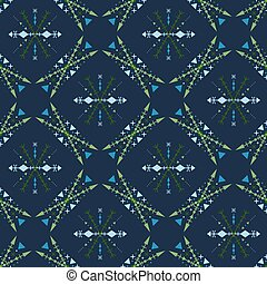 Blue mosaic seamless pattern in tribal style.