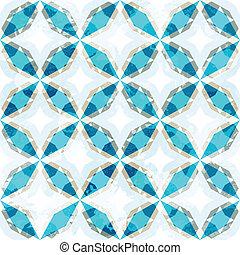 blue mosaic seamless pattern with grunge effect