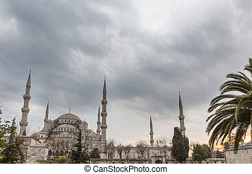 Blue mosque against cloudy sky, Istanbul, Turkey - Side view...