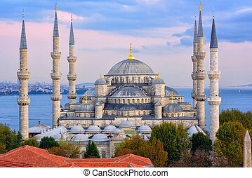Blue Mosque and Bosporus, Istanbul, Turkey