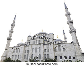 Blue mosque and white sky, Istanbul, Turkey