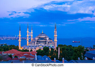 Blue Mosque at night in Istanbul, Turkey - Blue Mosque at...
