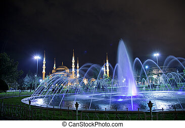 Blue Mosque at night - Sultanahmet square with its landmark...