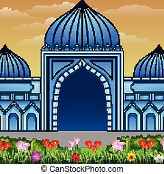 Blue mosque building with a flowers on the road