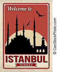 Blue mosque from Istanbul in vitage style poster, vector illustration