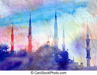 Blue Mosque in Istanbul in Turkey in watercolor tones