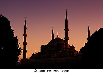 Blue Mosque in Istanbul, Turkey - Beautiful silhouette of...
