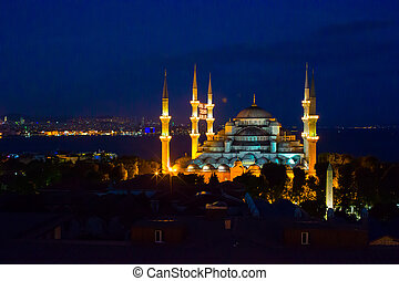 Blue Mosque in Istanbul, Turkey, Sultanahmet district - Blue...
