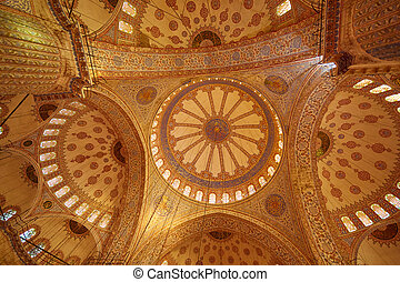 Blue Mosque interior in Istanbul, Turkey. Turkish: Sultan Ahmet Cami