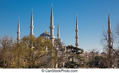 Blue mosque, Istanbul, Turkey - Side view of Blue mosque in...