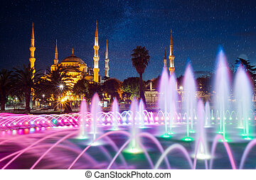 Blue Mosque on night in Istanbul.