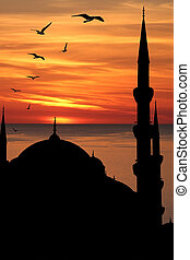 Blue mosque silhouette against sunset. Istanbul, Turkey