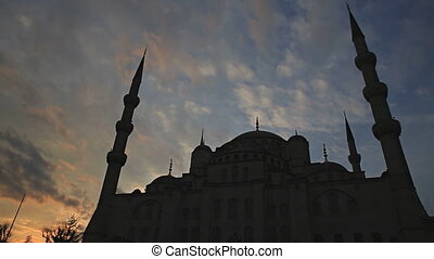 Blue mosque sunset, Istanbul, Turkey - Rear view of Blue...