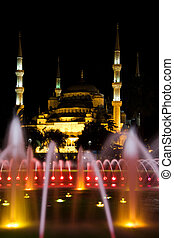 Blue Mosque with fountain at night, Istanbul