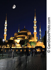 Blue Mosque with moon at night, Istanbul