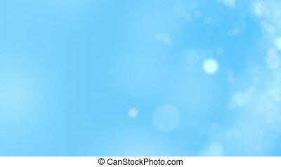 Blue motion background. Abstract glowing bokeh circles or sparks. 8K seamless loop clip