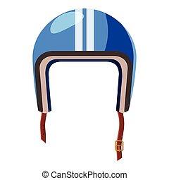 Blue motorcycle helmet icon, isometric 3d style