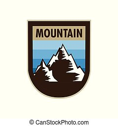 Blue Mountain Adventure Concave Shield Badge Design