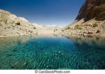 blue mountain lake at sunrise