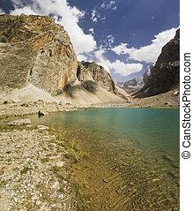 blue mountain lake reflects high rocks