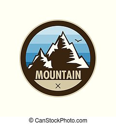 Blue Mountain Peak Adventure Shield Badge Design