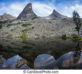 Blue Mountain Rural Tranquil Remote Lake Reflection Concept, in Ergaki park, Russia