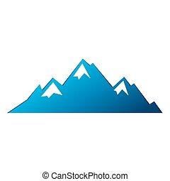 Blue mountain vector icon isolated on white background - stylized image.