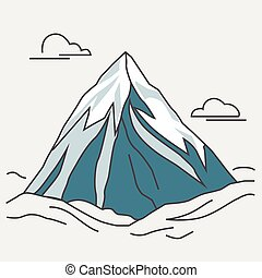 Blue mountain with clouds. Snowy peak.