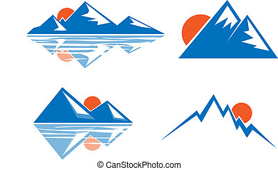 Blue mountains emblem - Silhouette of mountains against the...