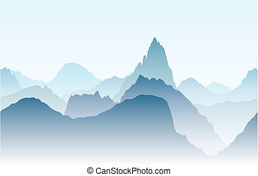 Blue mountains in the fog. Seamless vector