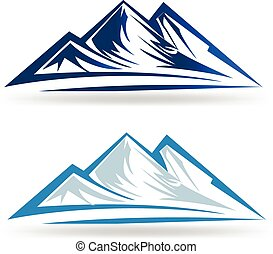 Blue mountains logo - Set of two Mointains logo emblem ...