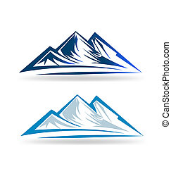 Blue mountains logo - Set of two Mointains logo emblem...