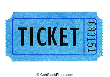 Blue movie ticket isolated on white