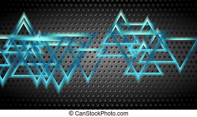 Blue moving shiny triangles on dark perforated background....