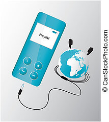 blue mp3 player with globe
