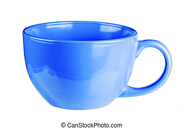 Blue mug empty blank for coffee or tea isolated on white background