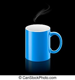 Blue mug on black background