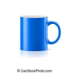 Blue mug on white