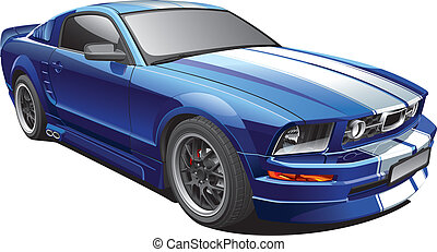 Detail vector image of blue modern pony car with white racing stripes, isolated on white background. File contains gradients. No blends and strokes. Easily edit: file is divided into logical layers and groups.