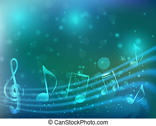 Blue music background - Blue background with abstract...