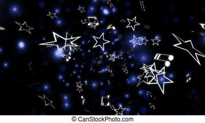 Blue music notes and stars loop