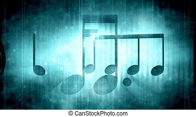 Blue music notes grunge