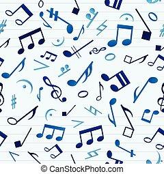 Blue Music Seamless Pattern - Colorful music seamless...