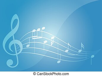 blue music vector background with notes