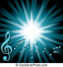 blue music vector background with notes and flash