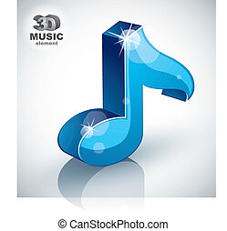 Blue musical note icon isolated, 3d music design element.
