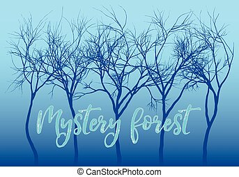 Blue mystery forest, vector trees