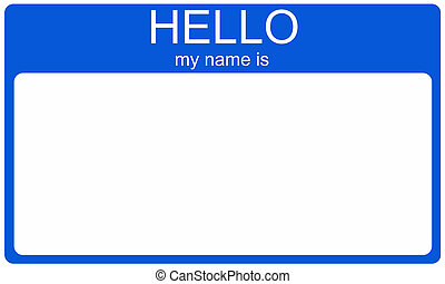 A blank dark blue name tag with the words Hello My Name is and white space for your name or text.