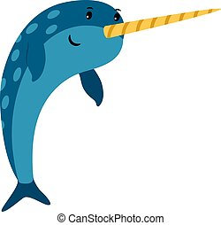 Blue narwhal sea animal icon