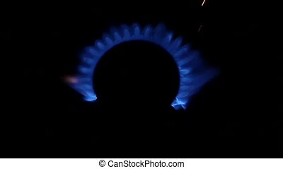 Blue Natural Gas Flames. Slow Motion.